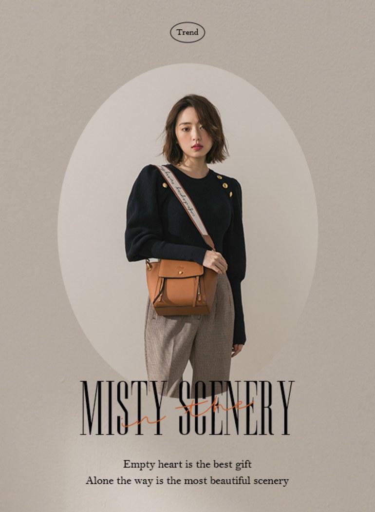 迷霧風景雙拉鍊真皮手提包