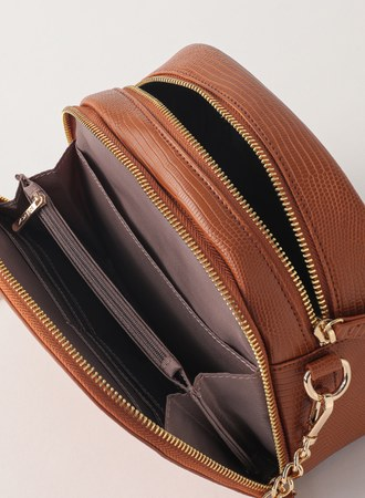 古董色調的浪漫多夾層壓紋鏈帶包